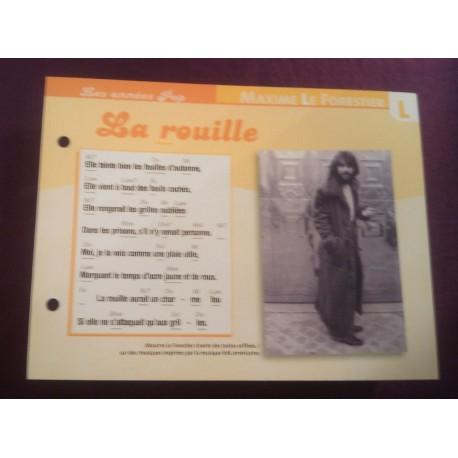 """FICHE FASCICULE """" PAROLES DE CHANSONS """" MAXIME LE FORESTIER la rouille 1973"""