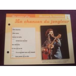 """FICHE FASCICULE """" PAROLES DE CHANSONS """" MAXIME LE FORESTIER la chanson du jongleur 1976"""