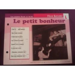"""FICHE FASCICULE """" PAROLES DE CHANSONS """" FELIX LECLERC le petit bonheur 1950"""