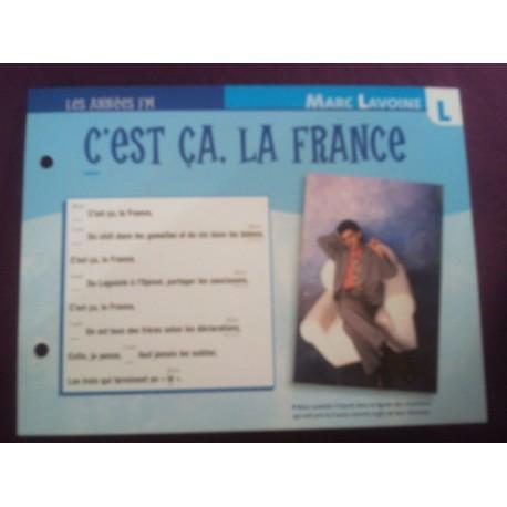 """FICHE FASCICULE """" PAROLES DE CHANSONS """" MARC LAVOINE c'est ça la France 1985"""