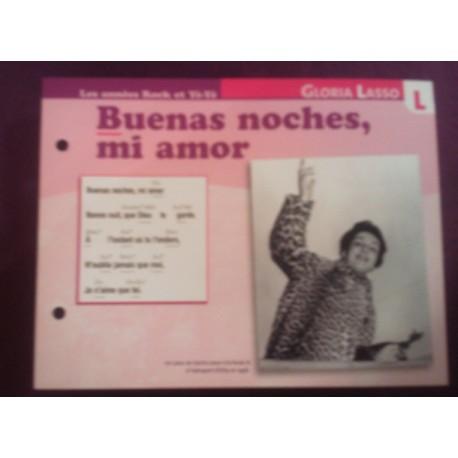 """FICHE FASCICULE """" PAROLES DE CHANSONS """" GLORIA LASSO buenas noches , mi amor 1957"""