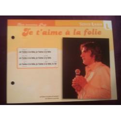 """FICHE FASCICULE """" PAROLES DE CHANSONS """" SERGE LAMA je t'aime a la folie 1976"""