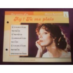 """FICHE FASCICULE """" PAROLES DE CHANSONS """" MARIE LAFORET ay ! tu me plais 1972"""