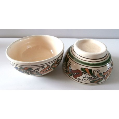 Lot de 2 anciens très anciens bols céramique motifs fleuris marque KOROND