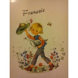 """Prénom sur faience a encadré ou poser """" FRANCOIS """" neuf"""