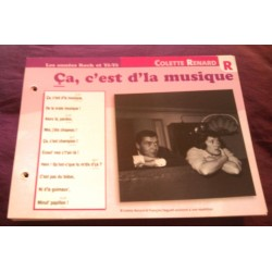 """FICHE FASCICULE """"PAROLES DE CHANSONS""""COLETTE RENARD ca c'est d'la musique 1959"""
