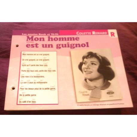 """FICHE FASCICULE """"PAROLES DE CHANSONS""""COLETTE RENARD mon homme est un guignol 1964"""