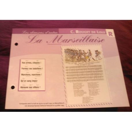 """FICHE FASCICULE """"PAROLES DE CHANSONS"""" C. ROUGET DE LISLE la marseillaise 1792"""