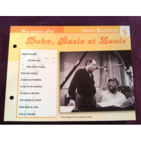 "FICHE FASCICULE ""PAROLES DE CHANSONS"" HENRI SALVADOR duke , basie et louis 1973"