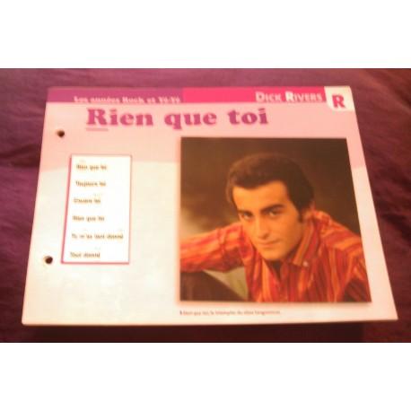 """FICHE FASCICULE """"PAROLES DE CHANSONS"""" DICK RIVERS rien que toi 1965"""