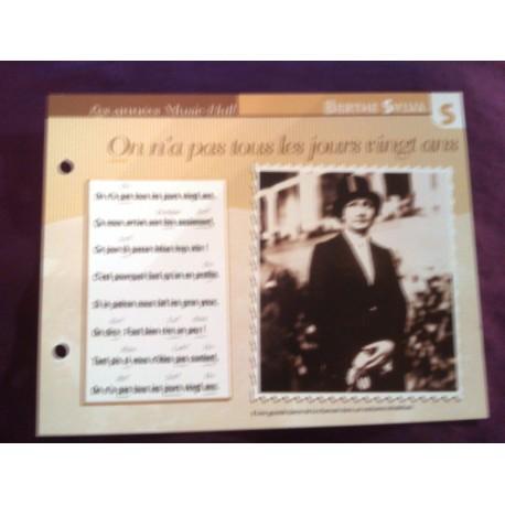 """FICHE FASCICULE """"PAROLES DE CHANSONS"""" BERTHE SYLVA on a pas tout les jours 20 ans 1934"""