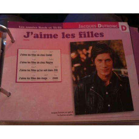 """FICHE FASCICULE """"PAROLES DE CHANSONS"""" JACQUES DUTRONC j'aime les filles 1967"""
