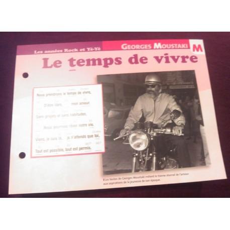 """FICHE FASCICULE """"PAROLES DE CHANSONS"""" GEORGES MOUSTAKY le temps de vivre 1969"""