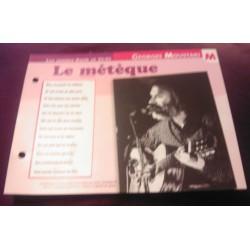 """FICHE FASCICULE """"PAROLES DE CHANSONS"""" GEORGES MOUSTAKY le métèque 1969"""