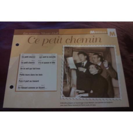 """FICHE FASCICULE """"PAROLES DE CHANSONS"""" MIREILLE ce petit chemin 1933"""