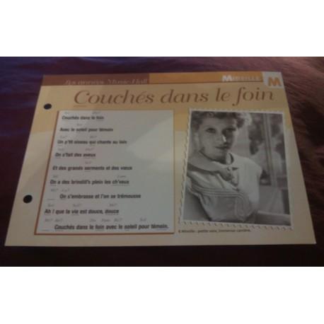 """FICHE FASCICULE """"PAROLES DE CHANSONS"""" MIREILLE couché dans le foin 1932"""