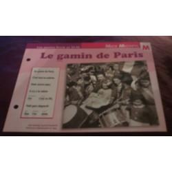 """FICHE FASCICULE """"PAROLES DE CHANSONS"""" MICK MICHEYL le gamin de paris 1951"""