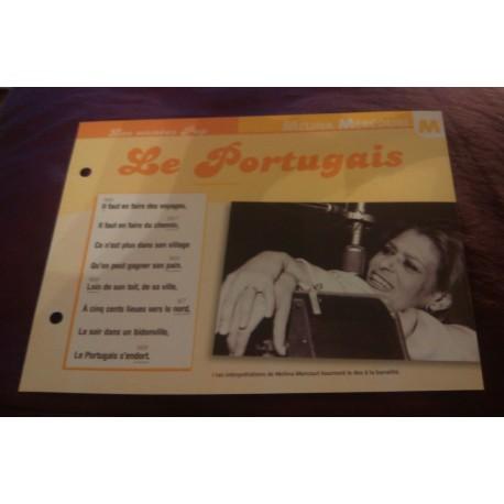"""FICHE FASCICULE """"PAROLES DE CHANSONS"""" MELINA MERCOURI le portugais 1970"""