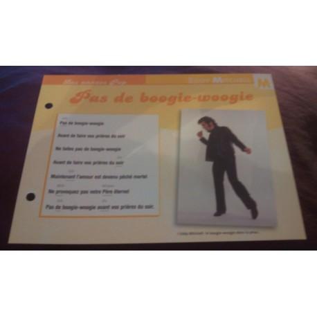 """FICHE FASCICULE """"PAROLES DE CHANSONS"""" EDDY MITCHELL pas de boogie-woogie 1974"""