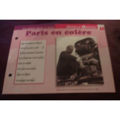 """FICHE FASCICULE """"PAROLES DE CHANSONS"""" MIREILLE MATHIEU paris en colère 1966"""