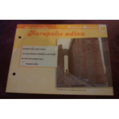 """FICHE FASCICULE """"PAROLES DE CHANSONS"""" MIREILLE MATHIEU acropolis adieu 1973"""