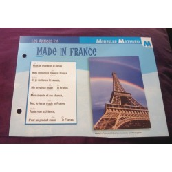 "FICHE FASCICULE ""PAROLES DE CHANSONS"" MIREILLE MATHIEU made in france 1985"
