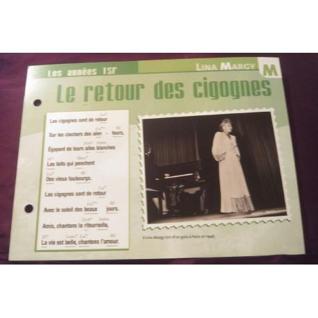 """FICHE FASCICULE """"PAROLES DE CHANSONS"""" LINA MARGY le retour des cigognes 1945"""