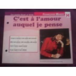"""FICHE FASCICULE """"PAROLES DE CHANSONS"""" FRANÇOISE HARDY c'est a l'amour auquel je pense 1962"""