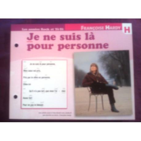 """FICHE FASCICULE """"PAROLES DE CHANSONS"""" FRANÇOISE HARDY je ne suis la pour personne 1966"""