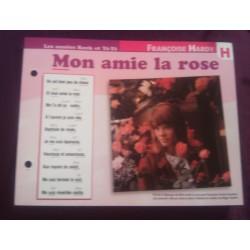 """FICHE FASCICULE """"PAROLES DE CHANSONS"""" FRANÇOISE HARDY mon amie la rose 1964"""