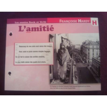 """FICHE FASCICULE """"PAROLES DE CHANSONS"""" FRANÇOISE HARDY l'amitié 1965"""