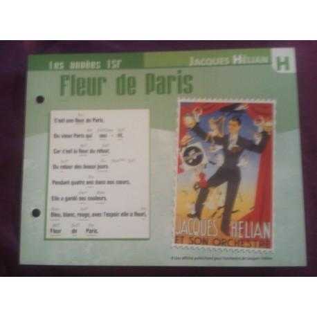 """FICHE FASCICULE """"PAROLES DE CHANSONS"""" JACQUES HELIAN fleur de Paris 1944"""