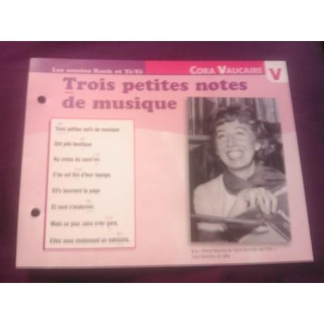 """FICHE FASCICULE """"PAROLES DE CHANSONS"""" CORA VAUCAIRE trois petites notes de musiques 1961"""
