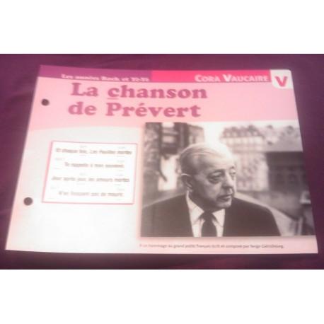"""FICHE FASCICULE """"PAROLES DE CHANSONS"""" CORA VAUCAIRE la chanson de Prévert 1962"""