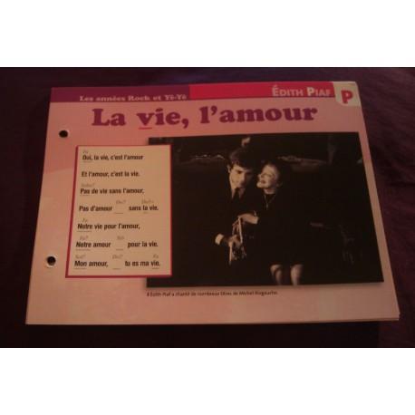 """FICHE FASCICULE """"PAROLES DE CHANSONS"""" EDITH PIAF la vie , l'amour 1961"""