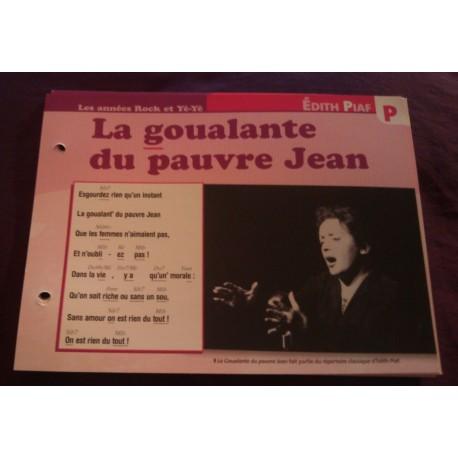 """FICHE FASCICULE """"PAROLES DE CHANSONS"""" EDITH PIAF la goualante du pauvre jean 1954"""