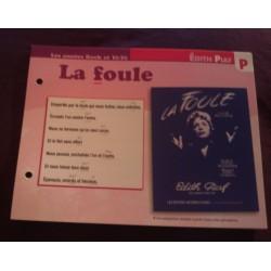 """FICHE FASCICULE """"PAROLES DE CHANSONS"""" EDITH PIAF la foule 1958"""