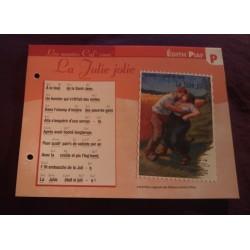 """FICHE FASCICULE """"PAROLES DE CHANSONS"""" EDITH PIAF la jolie Julie 1904"""