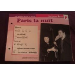 """FICHE FASCICULE """"PAROLES DE CHANSONS"""" JACQUES PILLS Paris la nuit 1950"""
