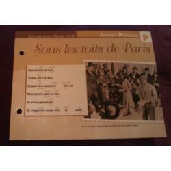 """FICHE FASCICULE """"PAROLES DE CHANSONS"""" ALBERT PREJEAN sous les toits de Paris 1930"""