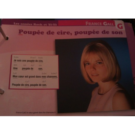 """FICHE FASCICULE """"PAROLES DE CHANSONS"""" FRANCE GALL poupée de cire , poupée de son 1965"""