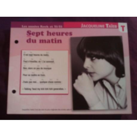 """FICHE FASCICULE """"PAROLES DE CHANSONS"""" JACQUELINE TAIEB sept heures du matin 1967 collection occasion"""