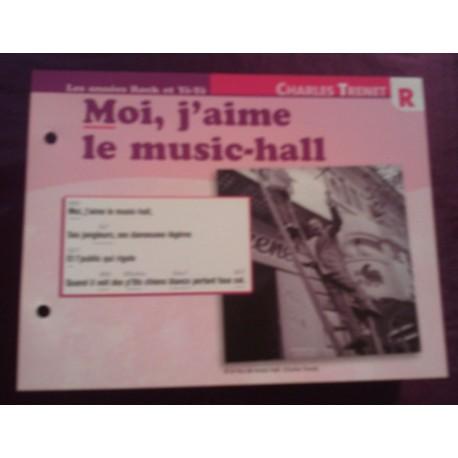 """FICHE FASCICULE """"PAROLES DE CHANSONS"""" CHARLES TRENET moi j'aime le music hall 1955"""