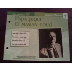 """FICHE FASCICULE """"PAROLES DE CHANSONS"""" CHARLES TRENET papa pique et maman coud 1940"""