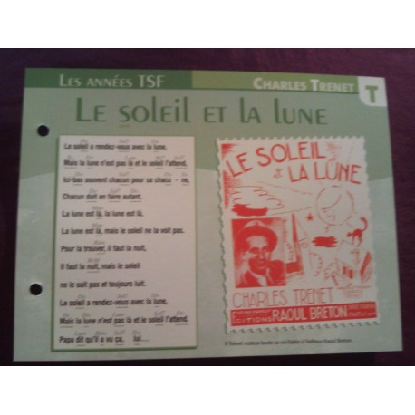 """FICHE FASCICULE """"PAROLES DE CHANSONS"""" CHARLES TRENET le soleil et la lune 1939"""