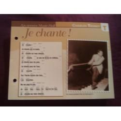 """FICHE FASCICULE """"PAROLES DE CHANSONS"""" CHARLES TRENET je chante 1937"""