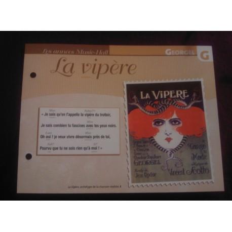 """FICHE FASCICULE """"PAROLES DE CHANSONS"""" GEORGEL la vipère 1921"""