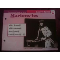 """FICHE FASCICULE """"PAROLES DE CHANSONS"""" JULIETTE GRECO marions les"""