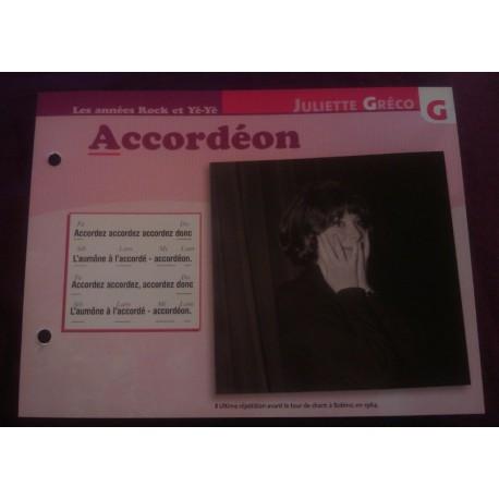 """FICHE FASCICULE """"PAROLES DE CHANSONS"""" JULIETTE GRECO accordéon"""