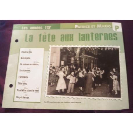 """FICHE FASCICULE """"PAROLES DE CHANSONS"""" PATRICE ET MARIO la fête aux lanternes 1947"""